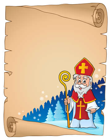 Parchment met Sinterklaas thema 1 - eps10 vector illustratie. Stock Illustratie