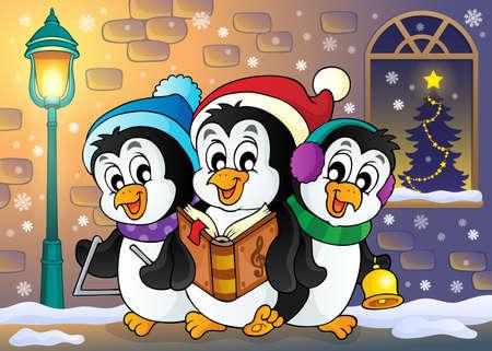 Christmas penguins theme image doing christmas carol