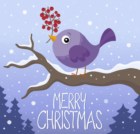 Merry Christmas thematics image bird with branch Illustration