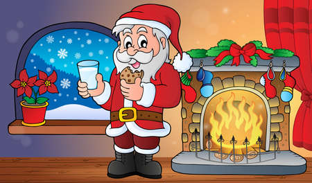 Santa Claus glass of milk and cookies theme