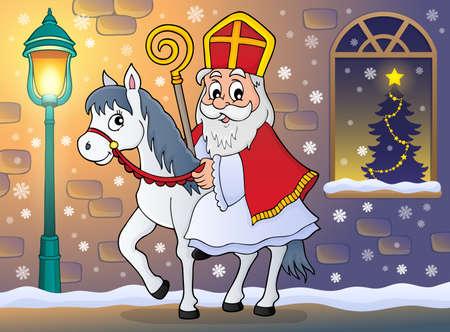 Sinterklaas op paard thema afbeelding