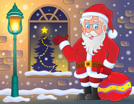 Santa Claus op stoep thema