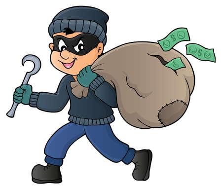 heist: Thief with bag of money in cartoon illustration.