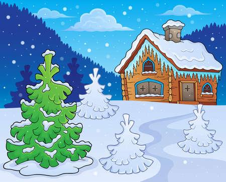 hiver image de thème de chalet dans la bande dessinée illustration Vecteurs