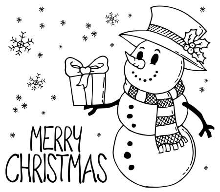 Merry Christmas Theme With Snowman Carrying A Gift In Black And