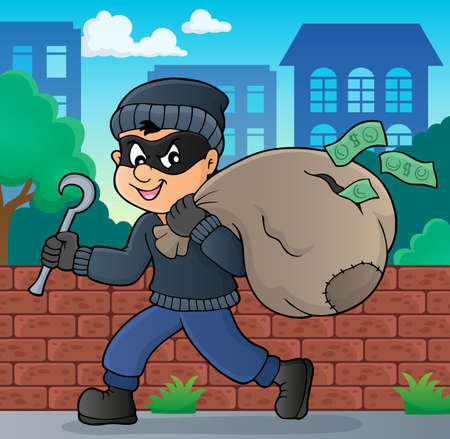 Thief with bag of money illustration.