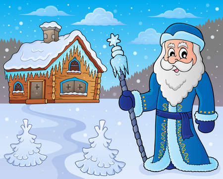 Father frost theme on colored background, vector illustration.