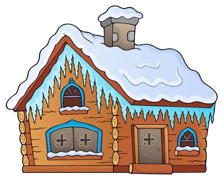 Winter cottage theme on white background, vector illustration.