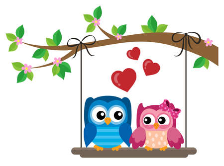 Valentine owls theme image 6 - eps10 vector illustration. Illustration