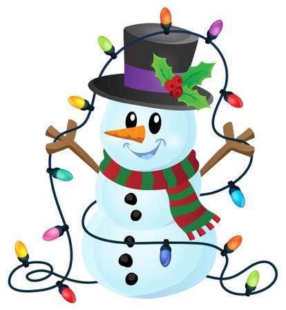 Snowman with Christmas lights image.
