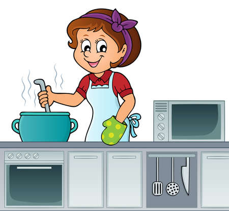 Female cook topic image 2 - eps10 vector illustration.
