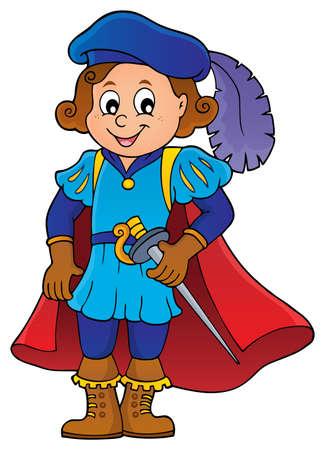 Kid wearing prince costume vector illustration.