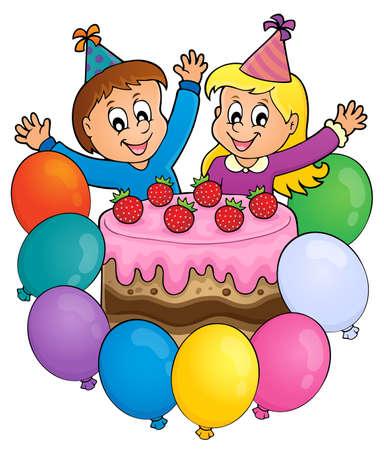 Cake and two kids celebrating image 3 - eps10 vector illustration.