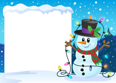 Snowy frame with Christmas snowman 2 - eps10 vector illustration. Illustration
