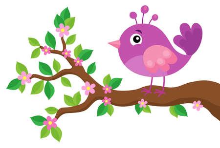 Stylized bird on spring branch theme.