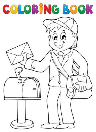 Post man holding a mail in front of a postal box. For coloring book