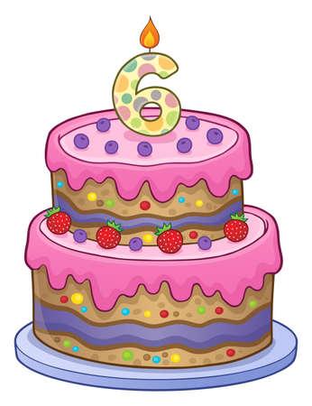 Zweischichtiger Kuchen für 6 Jahre alt. Standard-Bild - 90460467