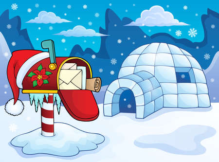 Mailbox with christmas decoration and igloo in the snow vector illustration. Illustration