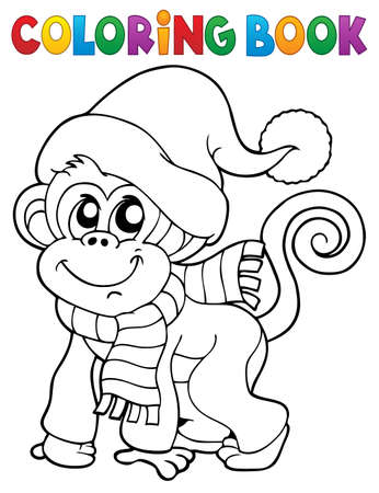 A line illustration of a Monkey in winter clothes Ilustracja