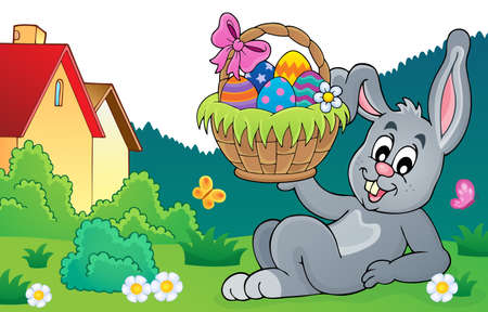Bunny lying in garden holding Easter basket theme Illustration