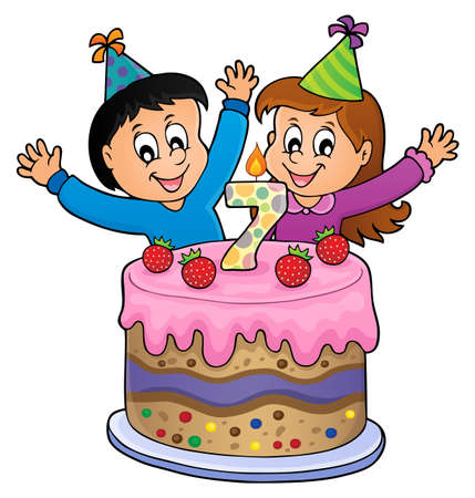 Two kids waving hands in behind a birthday cake with number 7. vector illustration.