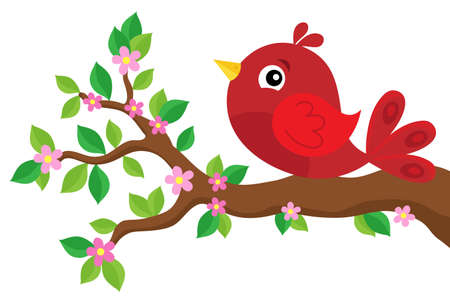 Stylized red bird on spring branch in isolated background Illustration