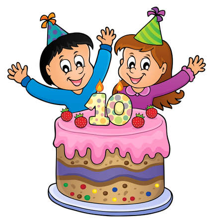 Two kids waving hands in behind a birthday cake with number 10. vector illustration.