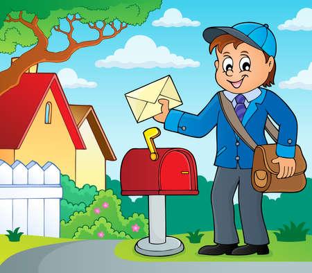 Briefträger im blauen Mantel, der einen Umschlag neben einem Briefkasten hält Vektorgrafik