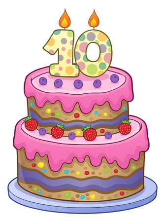 Two layered birthday cake for 10 years old vector illustration. Иллюстрация