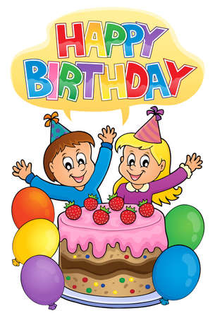 Two kids waving hands behind a cake  decorated with strawberries and balloons