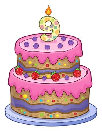 Twp Schichtkuchen für 9 Jahre alt Standard-Bild - 90461830