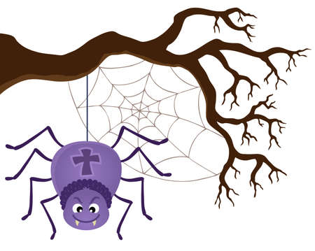 Spider with a cross sign hanging in a tree. Illustration