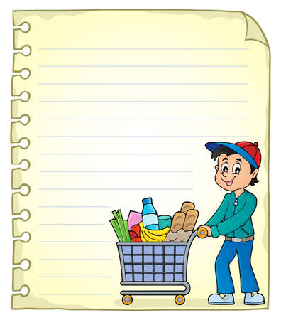 Notepad page with man shopping - eps10 vector illustration.
