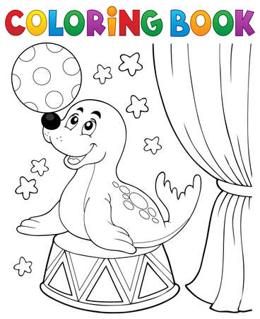 Coloring book seal playing with ball