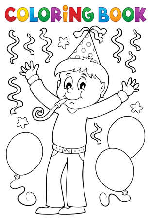 Coloring book boy celebrating theme Çizim