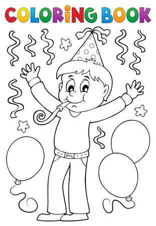 Libro de colorear niño celebrando el tema Foto de archivo - 91244322