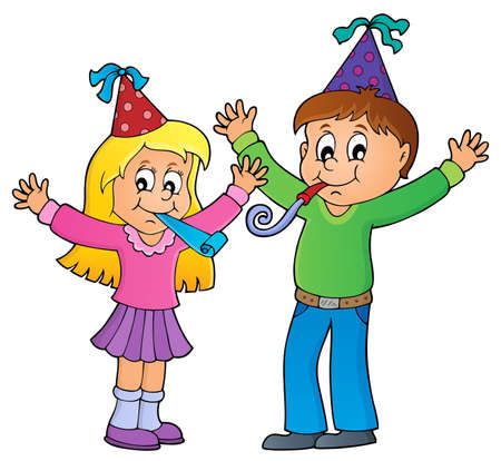 Children celebrating theme image 1 - eps10 vector illustration. Illustration