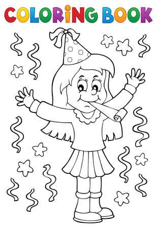 テーマを祝う塗り絵の女の子