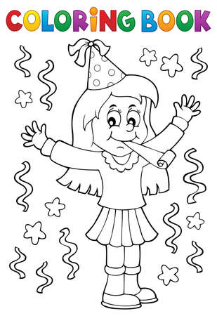 Coloring book girl celebrating theme Çizim