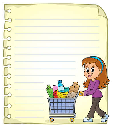 Notepad page with woman shopping
