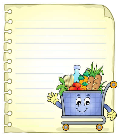 Notepad page with shopping cart Ilustracja