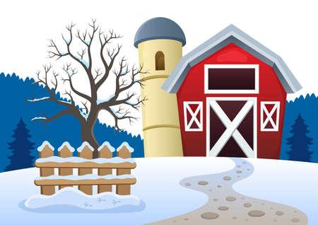 Winter farmland theme 2 - eps10 vector illustration.