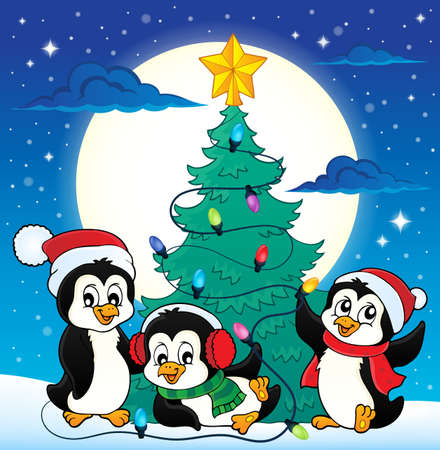 Christmas tree and penguins image 4 - eps10 vector illustration.