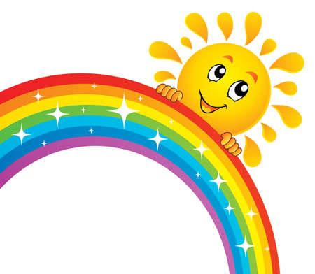 Sun holding rainbow theme 2 - eps10 vector illustration.