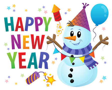 Happy New Year theme with snowman illustration.