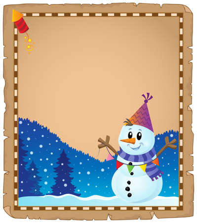 Parchment with party snowman   vector illustration.