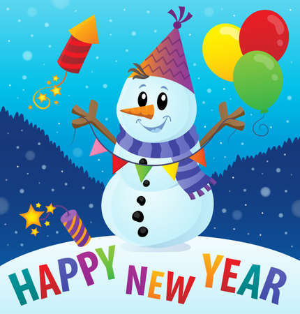 Happy New Year theme with snowman  vector illustration.