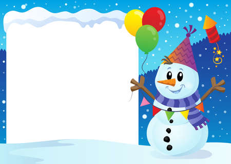 Snowy frame with party snowman  vector illustration. Illustration