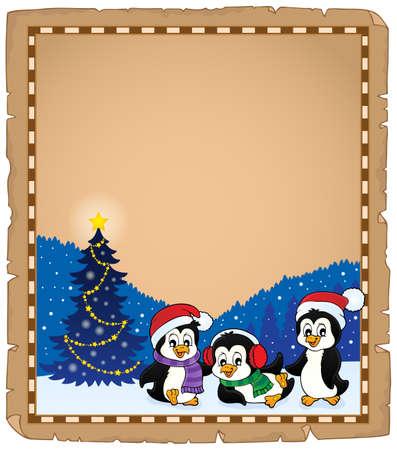 Christmas penguins thematic parchment  vector illustration. Illustration