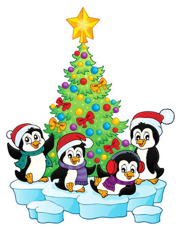 Christmas tree and penguins  vector illustration.